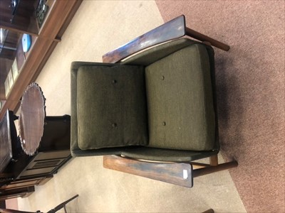 Lot 829-A DOKKA MOBLER NORWEGIAN ROSEWOOD SETTEE, TWO ARMCHAIRS AND A FOOTSTOOL