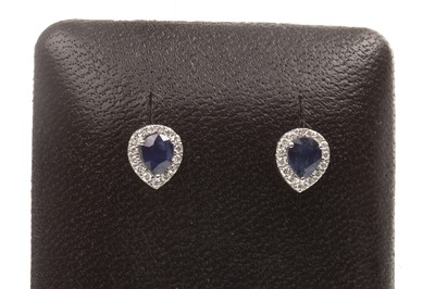 Lot 72-A PAIR OF SAPPHIRE AND DIAMOND EARRINGS