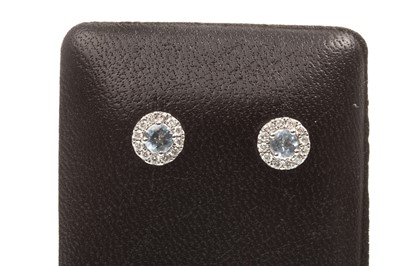 Lot 79-A PAIR OF AQUAMARINE AND DIAMOND EARRINGS