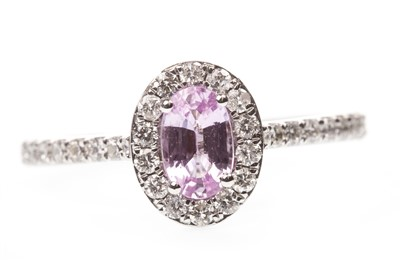 Lot 86-A PINK SAPPHIRE AND DIAMOND RING