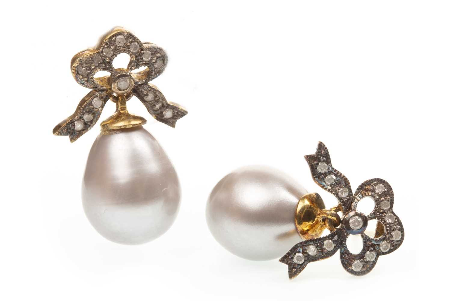 Lot 103-A PAIR OF PEARL AND DIAMOND EARRINGS