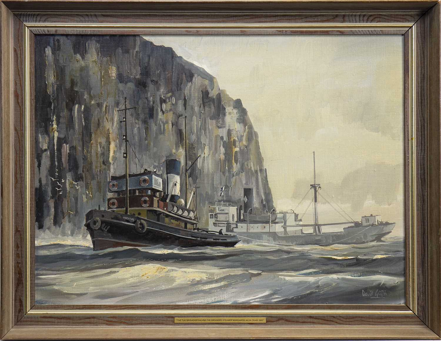 Lot 433-THE TUG, AN OIL BY DAVID GRIFFIN