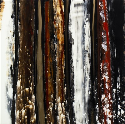 Lot 666-COMPOSITION IN BROWN, A MIXED MEDIA BY TOMMY FITCHET