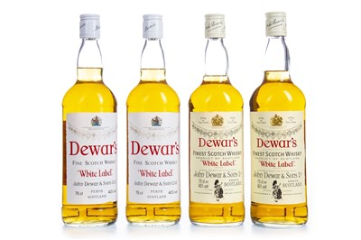 Lot 444-FOUR BOTTLES OF DEWAR'S WHITE LABEL