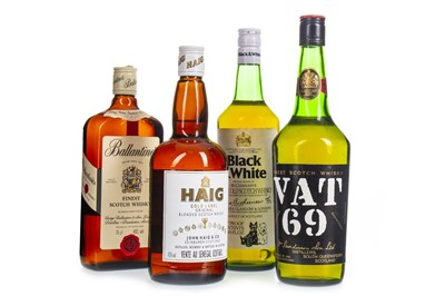 Lot 445-VAT 69, HAIG GOLD LABEL, BLACK & WHITE AND BALLANTINE'S FINEST