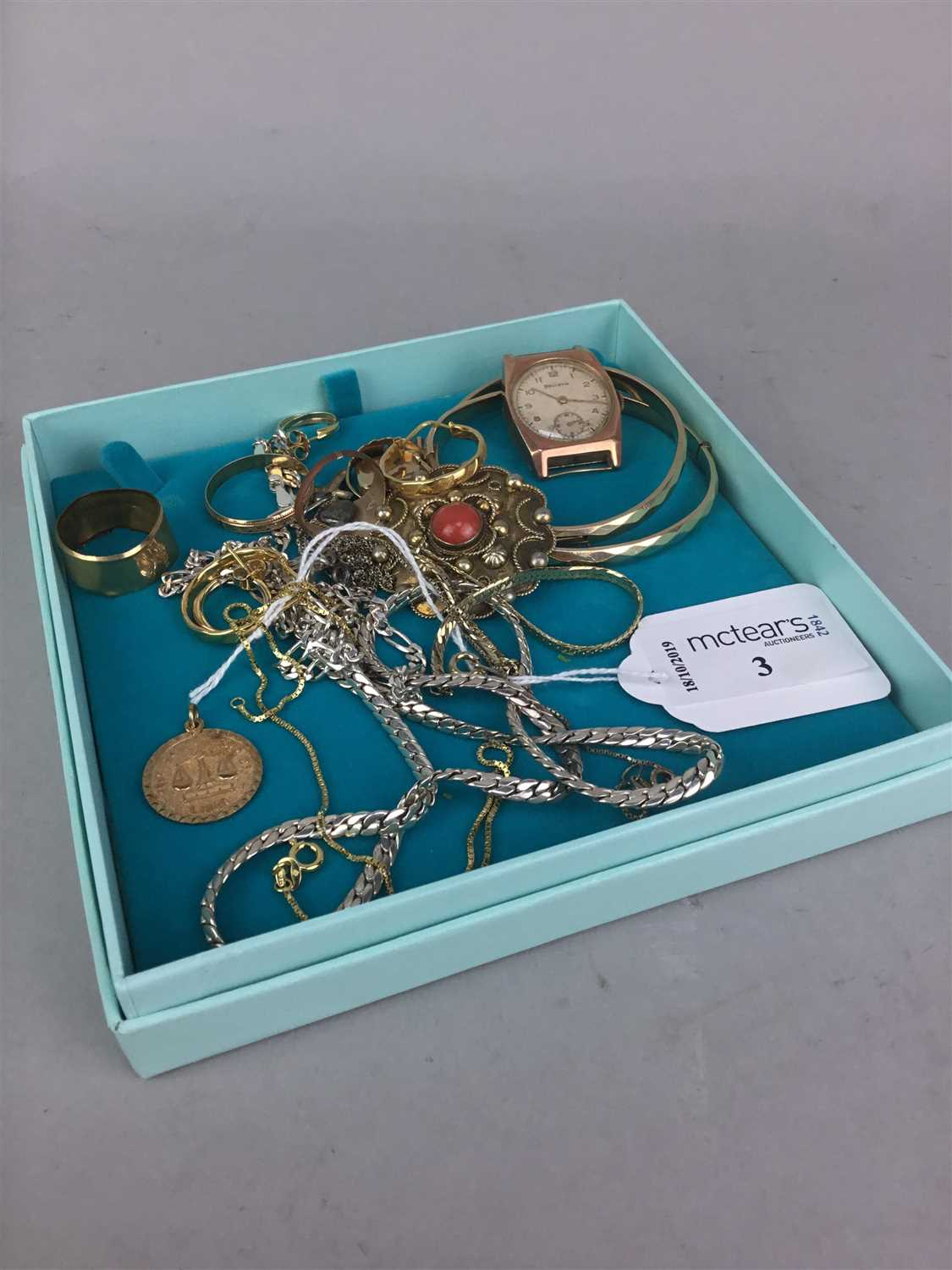 Lot 3-A HELVETIA GOLD WATCH HEAD, A GOLD 'LIBRA' PENDANT AND OTHER JEWELLERY