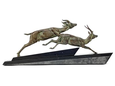 Lot 843-AN ART DECO STYLE BRONZED GROUP OF TWO ANTELOPE