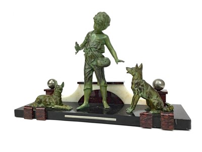 Lot 842-AN ART DECO STYLE PATINATED SPELTER AND MARBLE GROUP