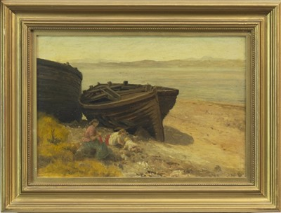 Lot 512-BEACHED BOAT WITH FIGURES, AN OIL BY ALEXANDER KELLOCK BROWN