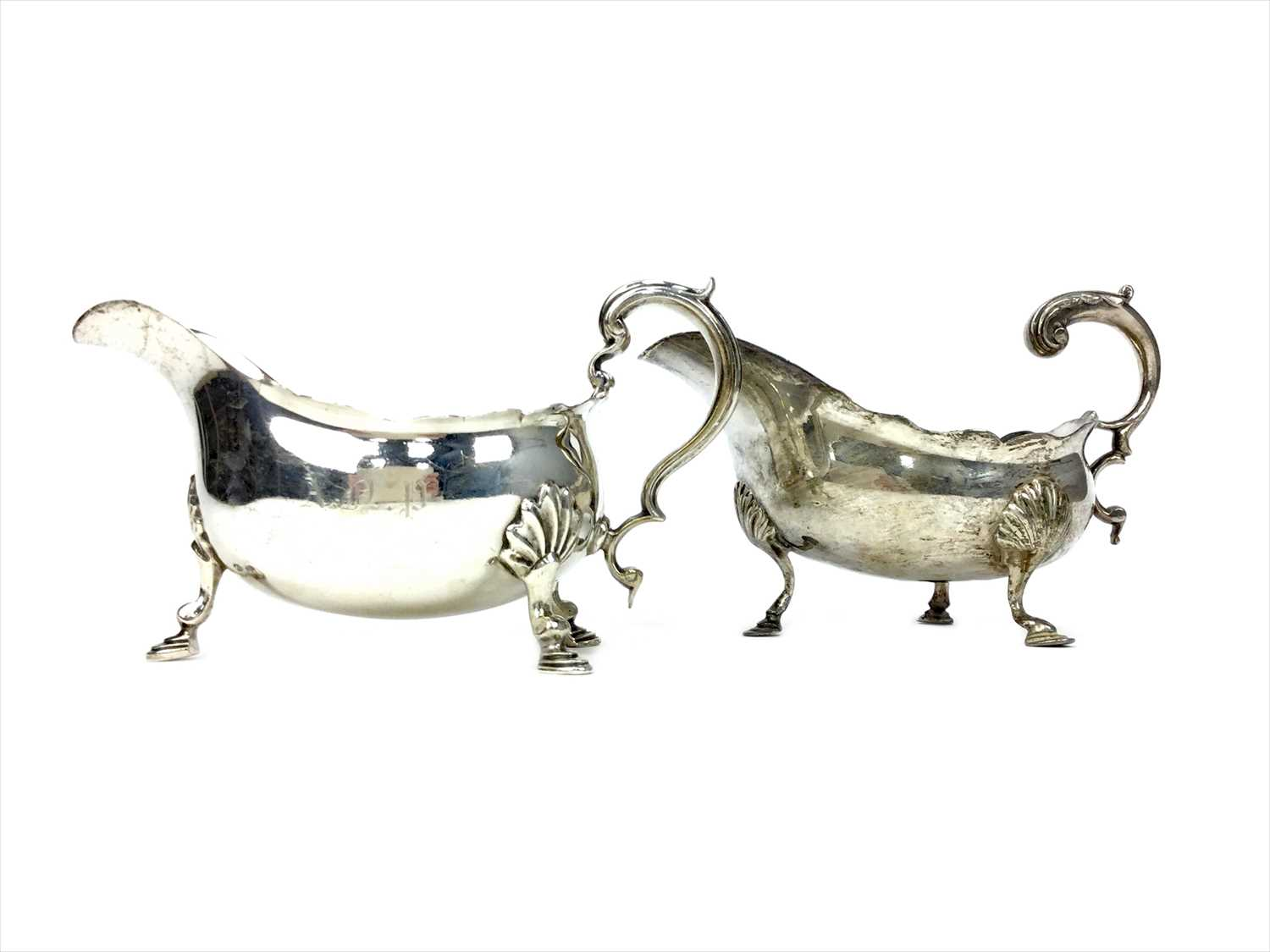 Lot 806 - A LOT OF TWO SILVER SAUCE BOATS