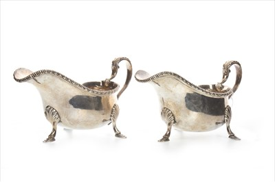 Lot 807-A PAIR OF GEORGE V SILVER SAUCE BOATS