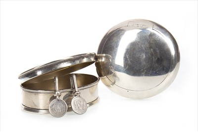 Lot 826-AN EDWARD VII SILVER SNUFF BOX ALONG WITH A TRINKET BOX AND PLACE NAME HOOKS
