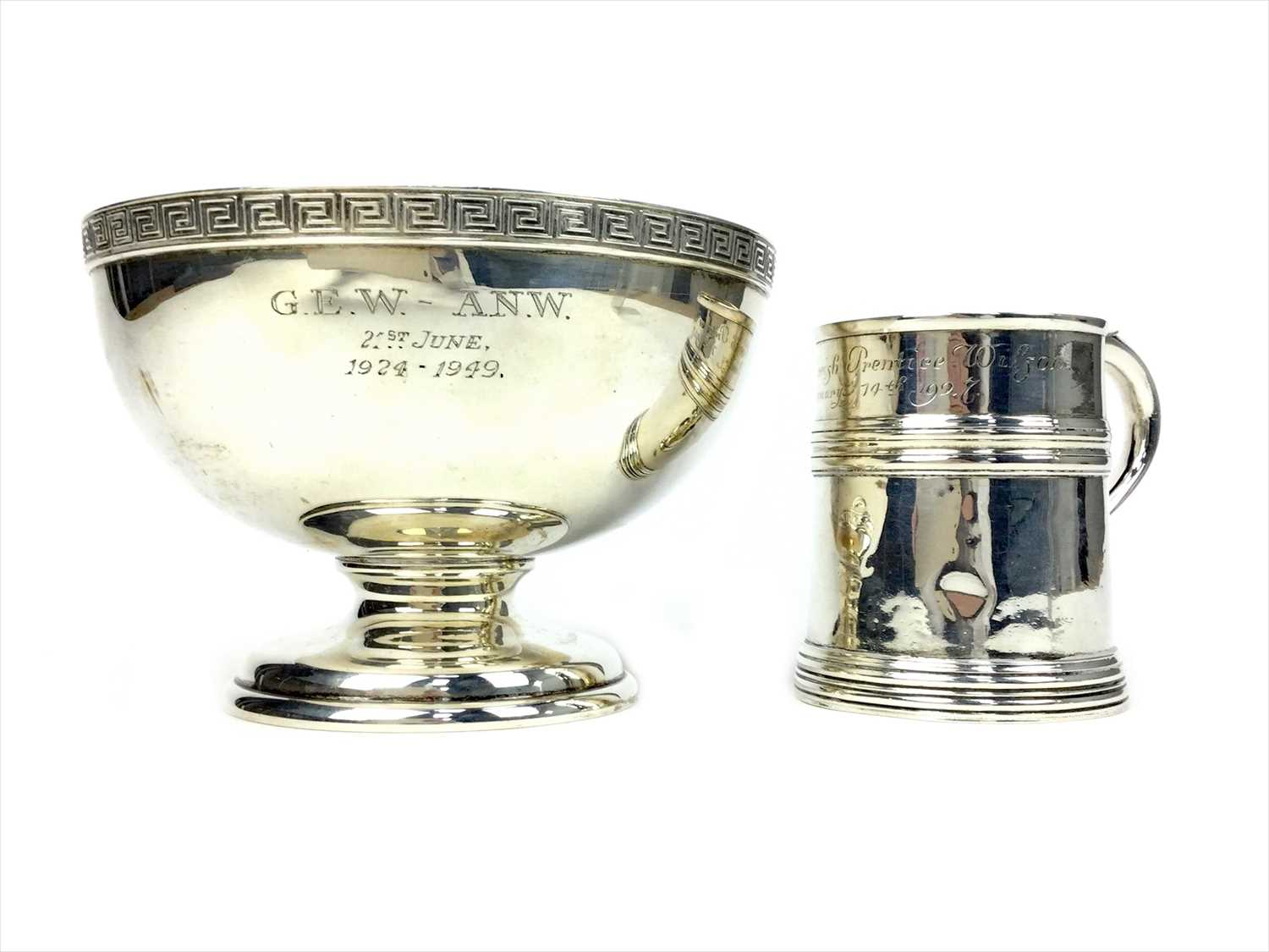 Lot 813-A GEORGE V SILVER PEDESTAL BOWL ALONG WITH A CHRISTENING MUG