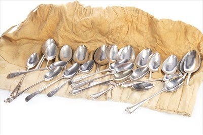 Lot 832-A SET OF ELEVEN REGENCY SILVER TEASPOONS ALONG WITH OTHER TEASPOONS