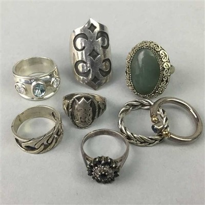 Lot 6-A LOT OF EIGHT VINTAGE SILVER RINGS
