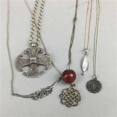 Lot 7-A LOT OF TEN VINTAGE SILVER PENDANTS AND CHAINS