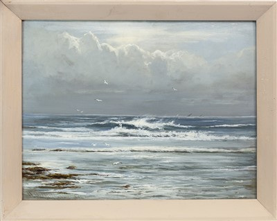 Lot 513-THE INCOMING TIDE, AN OIL BY HENRY HADFIELD CUBLEY