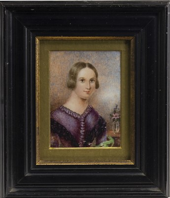 Lot 63-MISS SARAH INGLIS, AGED 20 YEARS, A WATERCOLOUR MINIATURE BY JOHN COX DILLMAN