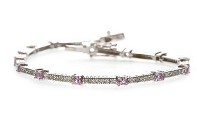 Lot 16-A PINK GEM AND DIAMOND BRACELET