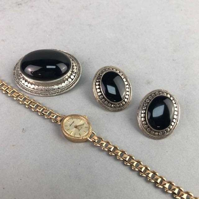 Lot 17-A GOLD WATCH, BROOCH AND EARRINGS