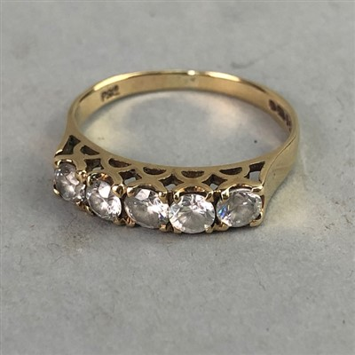Lot 22-A GEM SET FIVE STONE RING