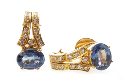 Lot 15-A PAIR OF BLUE GEM AND DIAMOND EARRINGS