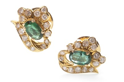 Lot 17-A PAIR OF GREEN GEM AND DIAMOND EARRINGS