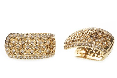 Lot 18-A PAIR OF DIAMOND HOOP EARRINGS