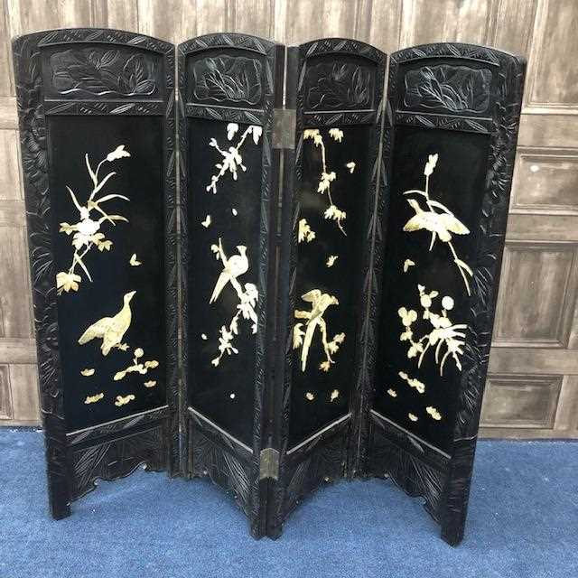 Lot 15-A CHINESE EBONISED WOOD INLAID SCREEN
