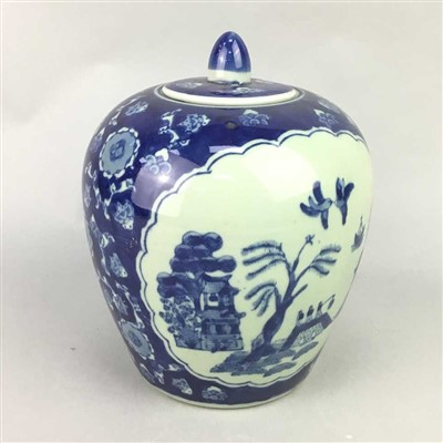 Lot 28-A CHINESE BLUE AND WHITE GINGER JAR AND COVER AND A LACQUERED TRAY