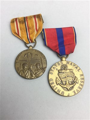 Lot 29-A UNITED STATES NAVAL RESERVE MEDAL AND AN ASIATIC PACIFIC CAMPAIGN MEDAL