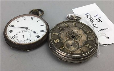 Lot 30-A SILVER CASED POCKET WATCH ALONG WITH ANOTHER POCKET WATCH