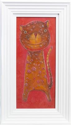 Lot 698-HAPPY CAT II, A MIXED MEDIA BY JOE HARROLD