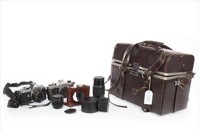 Lot 1110-A LOT OF TWO ASAHI PENTAX CAMERAS WITH VARIOUS LENSES
