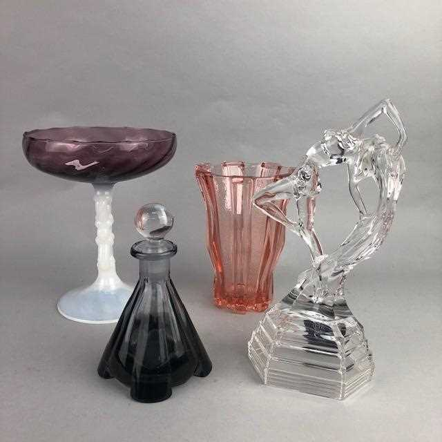 Lot 14-AN ART DECO STYLE GLASS FIGURE AND OTHER GLASSWARE