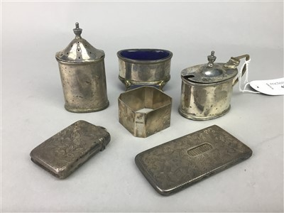 Lot 40-A SILVER CONDIMENT SET AND TWO VESTA CASES