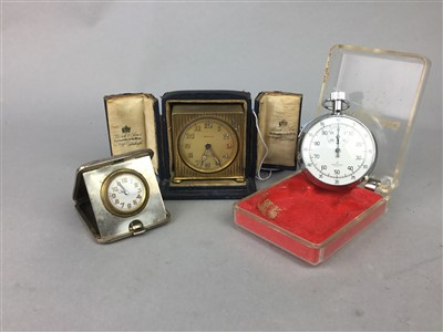 Lot 43-A BREITLING STOP WATCH AND TWO TRAVEL TIMEPIECES