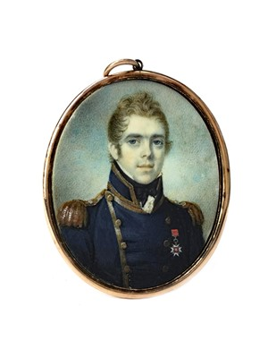 Lot 857-A PORTRAIT MINIATURE OF A NAVAL OFFICER, IN THE MANNER OF GEORGE ENGLEHEART