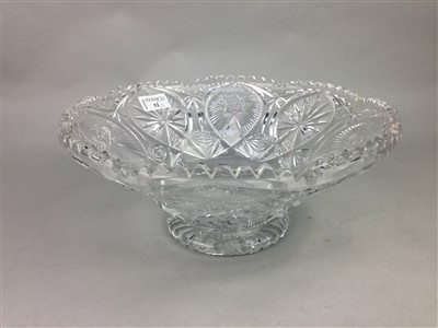 Lot 52-A LARGE CUT GLASS BOWL ALONG WITH A PITCHER AND A CARVING SET