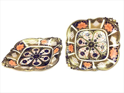 Lot 1222-A PAIR OF ROYAL CROWN DERBY 'IMARI' PATTERN COMPORTS