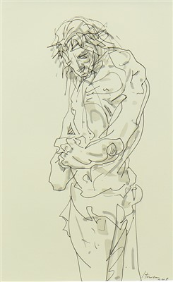 Lot 773-THE DISCIPLE, AN INK AND WASH BY PETER HOWSON