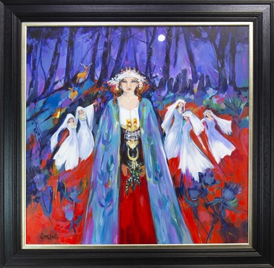 Lot 640-THE DANCE OF THE DRUID MOON, AN ACRYLIC BY SHELAGH CAMPBELL