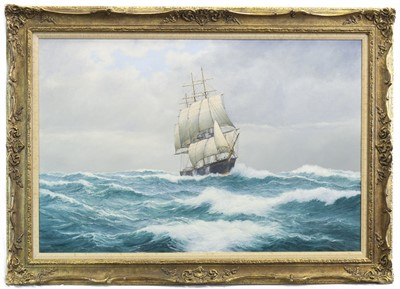 Lot 85-JAMES BAINES IN CHOPPY SEAS, AN OIL BY WILLIAM J POPHAM