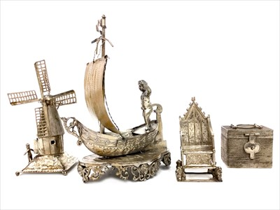 Lot 818-A SILVER MINITURE OF EDWARD VII CORONATION THRONE ALONG WITH THREE OTHER SILVER MINIATURES