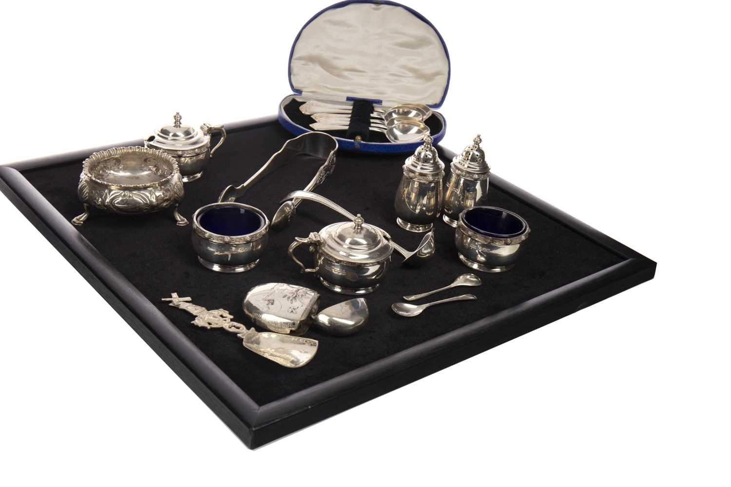 Lot 823-A SET OF EARLY 20TH CENTURY SILVER CRUETS ALONG WITH OTHER CRUETS