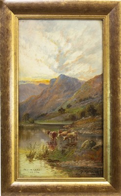 Lot 102-SCOTTISH LOCH WITH CATTLE, AN OIL BY DAVID MORGAN