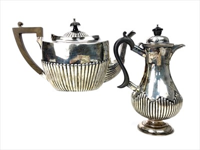 Lot 1714-EDWARD VII SILVER TEA AND HOT WATER POTS - AWARDED TO THE WINNERS OF THE AYR REGATTA