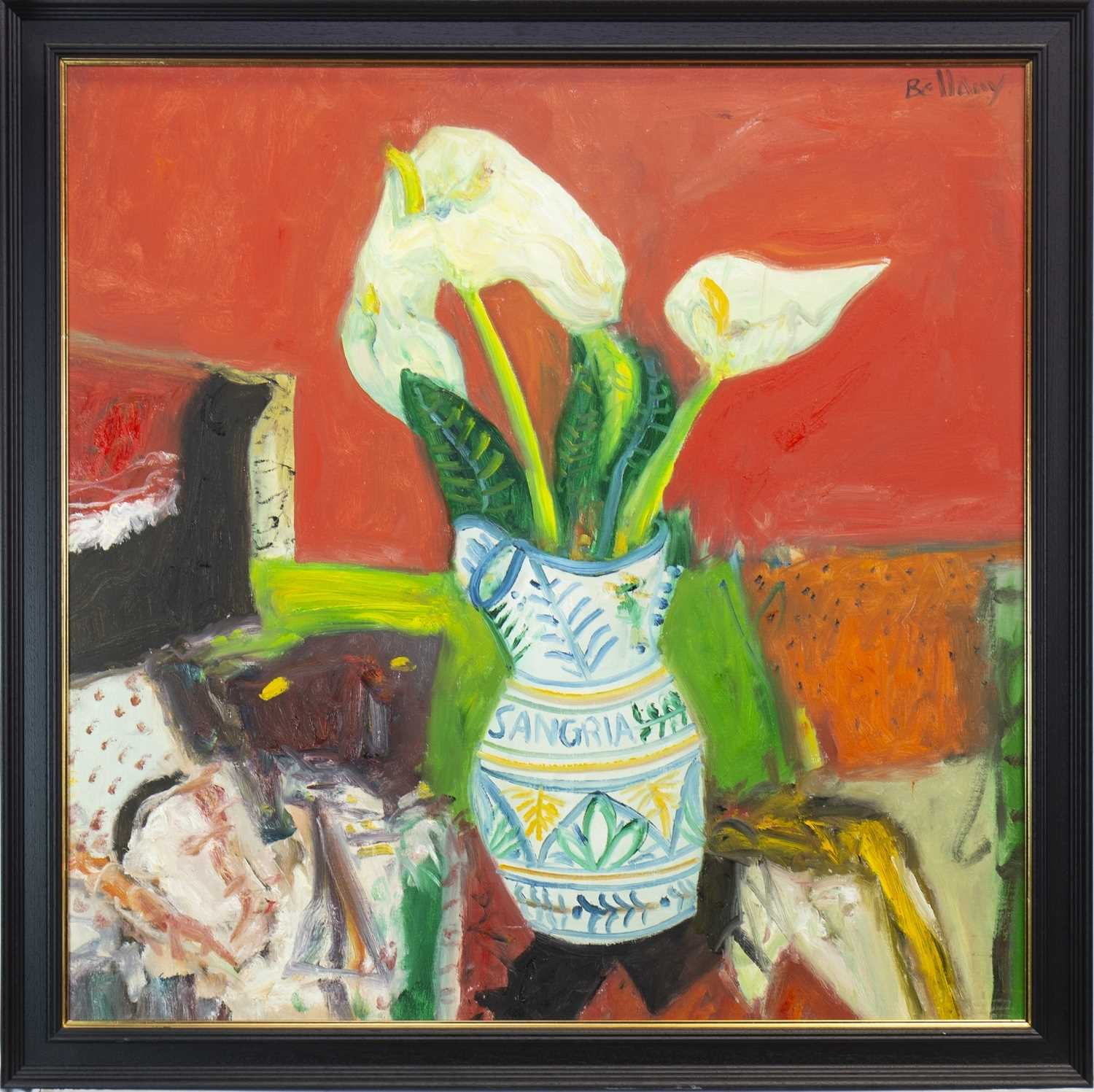 Lot 569-STILL LIFE WITH LILIES IN A SANGRIA JUG, AN OIL BY JOHN BELLANY