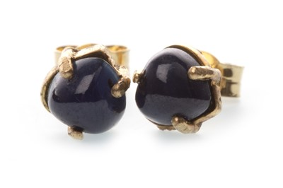 Lot 9-A PAIR OF HEART SHAPED SAPPHIRE EARRINGS