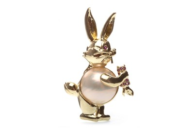 Lot 3-A MABE PEARL AND RUBY BUNNY BROOCH